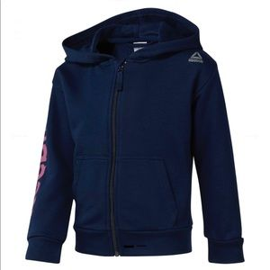 Reebok Girls Full Zip Warn Hoodie Sweater 5-6y